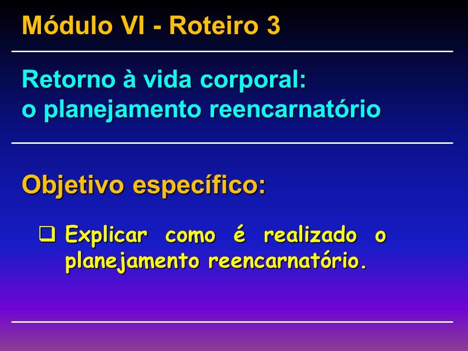 Módulo VI - Roteiro 3 Objetivo específico: Retorno à vida corporal: