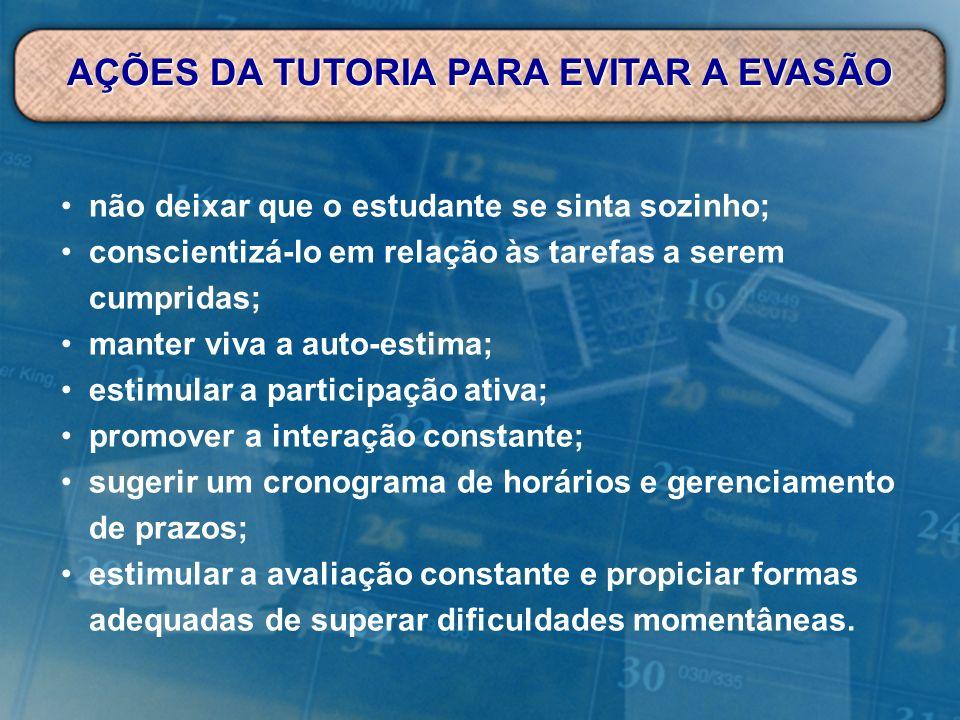 AÇÕES DA TUTORIA PARA EVITAR A EVASÃO