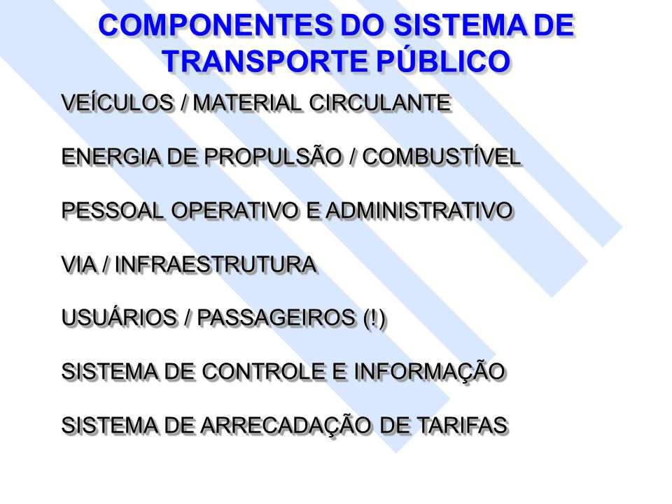 COMPONENTES DO SISTEMA DE TRANSPORTE PÚBLICO