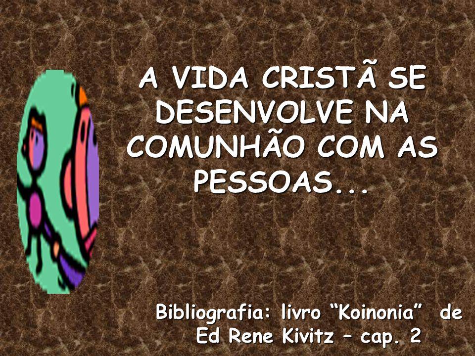 A VIDA CRISTÃ SE DESENVOLVE NA COMUNHÃO COM AS PESSOAS...