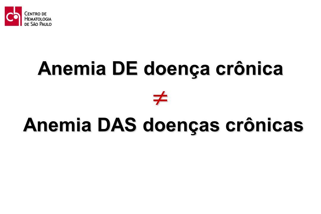 Anemia DE doença crônica  Anemia DAS doenças crônicas