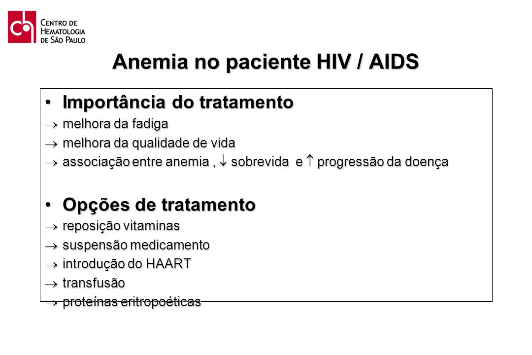 Anemia no paciente HIV / AIDS