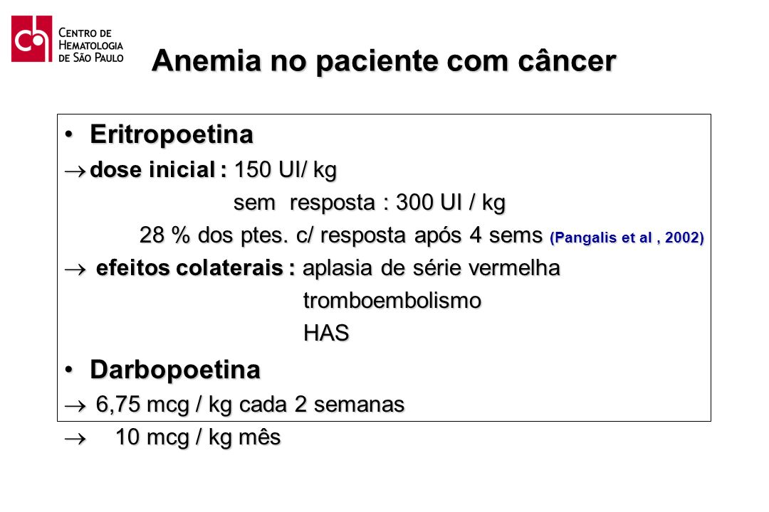 Anemia no paciente com câncer