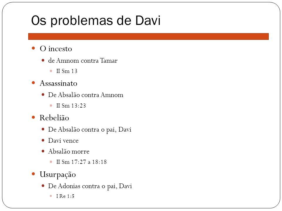 Os problemas de Davi O incesto Assassinato Rebelião Usurpação