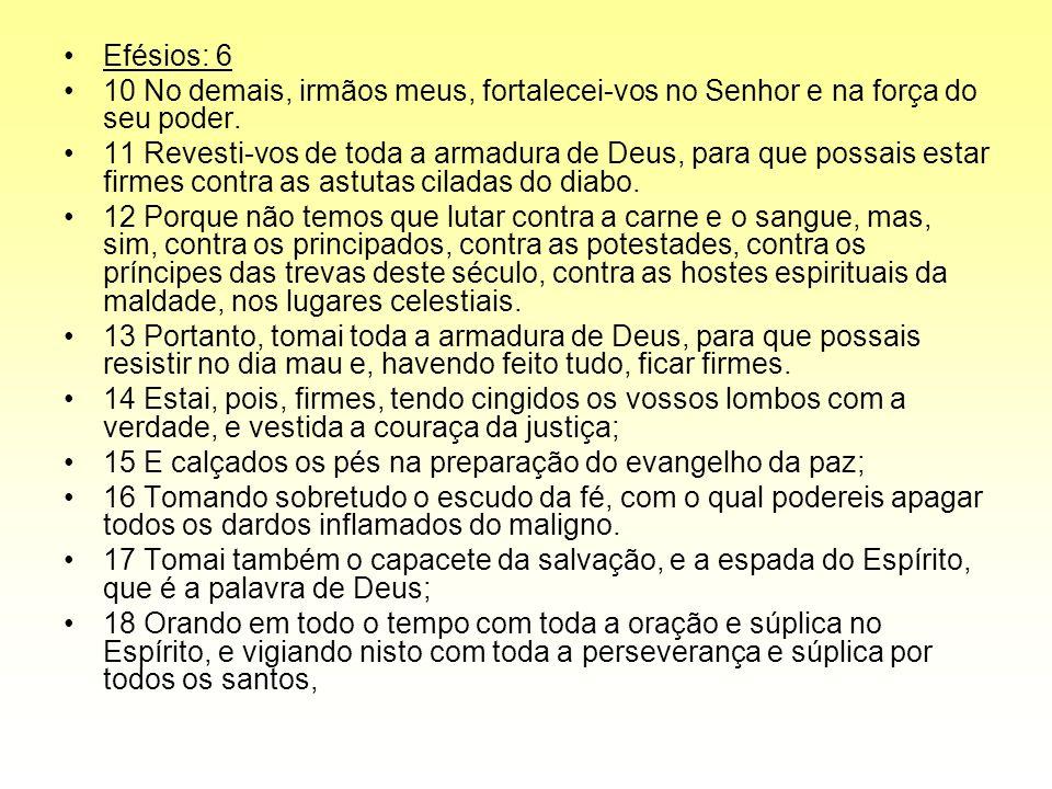 Efésios: 6 10 No demais, irmãos meus, fortalecei-vos no Senhor e na força do seu poder.
