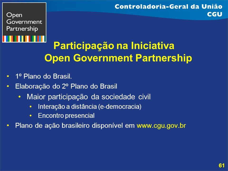 Participação na Iniciativa Open Government Partnership