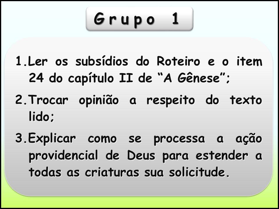 Grupo 11.Ler os subsídios do Roteiro e o item 24 do capítulo II de A Gênese ; 2.Trocar opinião a respeito do texto lido;