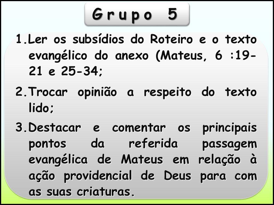 Grupo 5 1.Ler os subsídios do Roteiro e o texto evangélico do anexo (Mateus, 6 :19- 21 e 25-34; 2.Trocar opinião a respeito do texto lido;