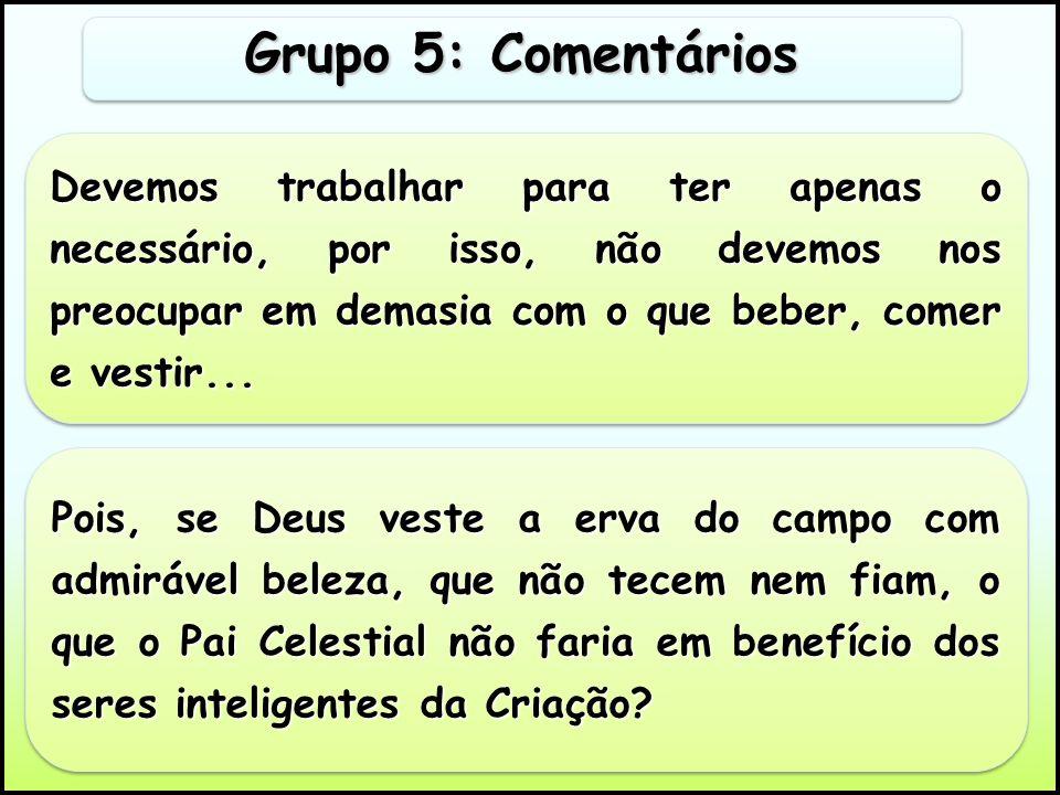 Grupo 5: Comentários