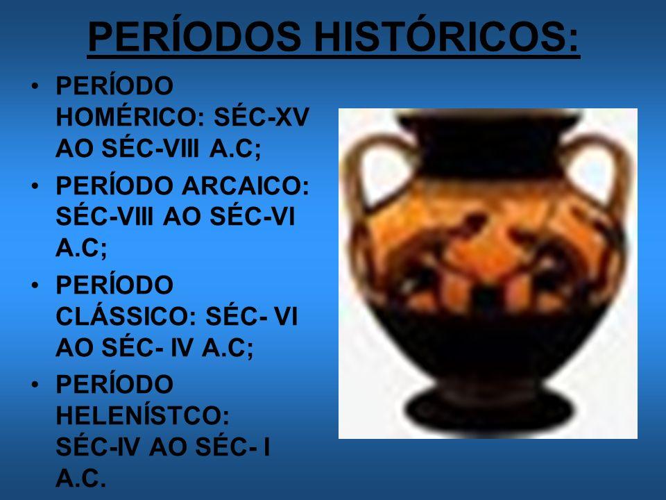 PERÍODOS HISTÓRICOS: PERÍODO HOMÉRICO: SÉC-XV AO SÉC-VIII A.C;