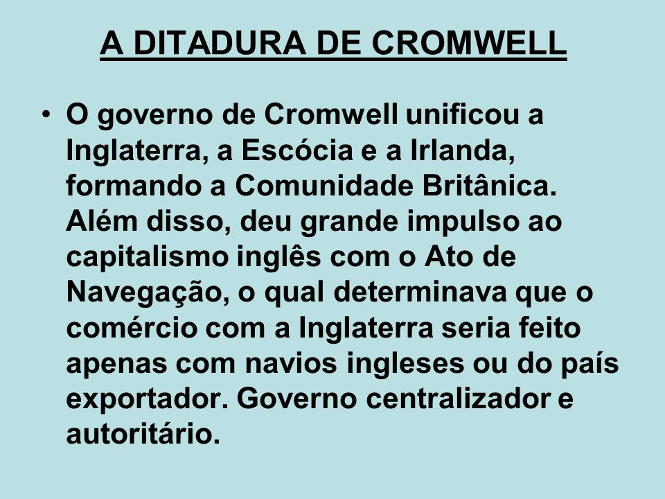 A DITADURA DE CROMWELL