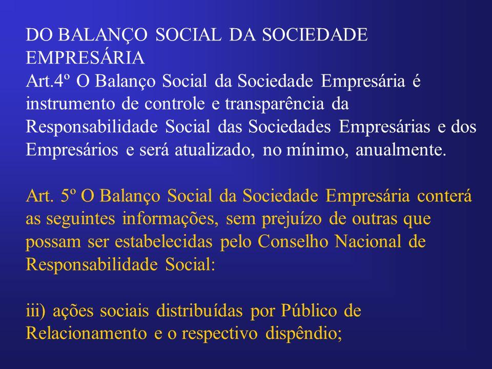 DO BALANÇO SOCIAL DA SOCIEDADE EMPRESÁRIA Art
