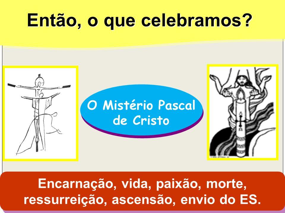 Encarnação, vida, paixão, morte, ressurreição, ascensão, envio do ES.