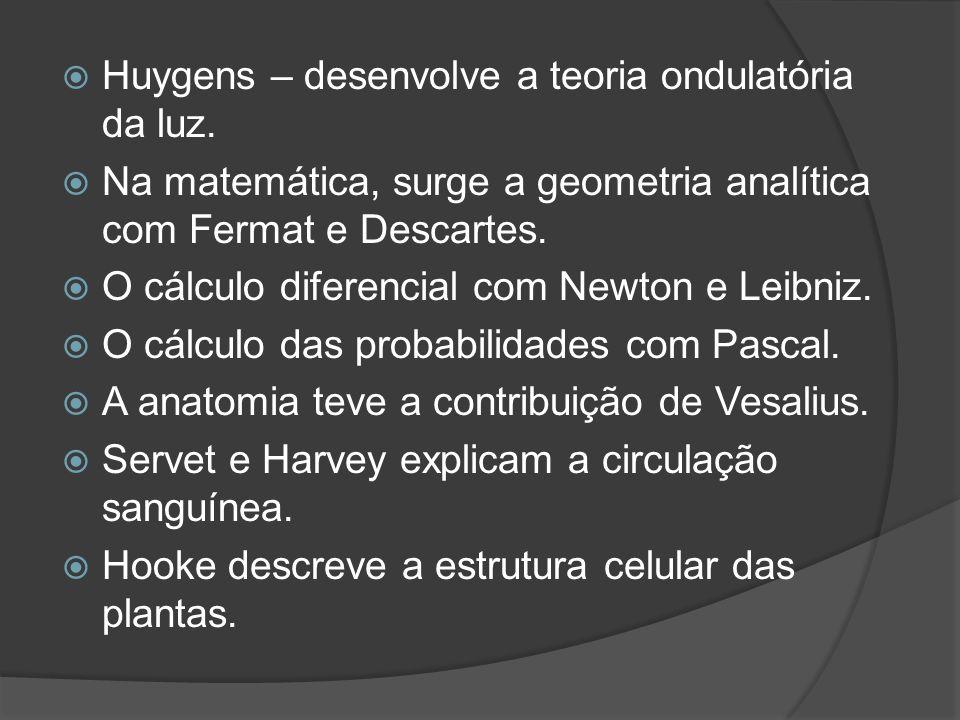 Huygens – desenvolve a teoria ondulatória da luz.