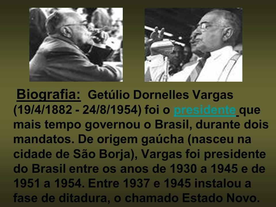 Biografia: Getúlio Dornelles Vargas (19/4/1882 - 24/8/1954) foi o presidente que mais tempo governou o Brasil, durante dois mandatos.