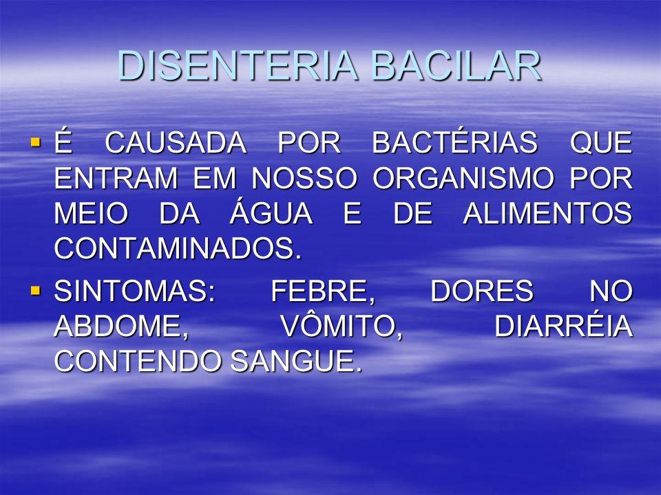 DISENTERIA BACILAR É CAUSADA POR BACTÉRIAS QUE ENTRAM EM NOSSO ORGANISMO POR MEIO DA ÁGUA E DE ALIMENTOS CONTAMINADOS.