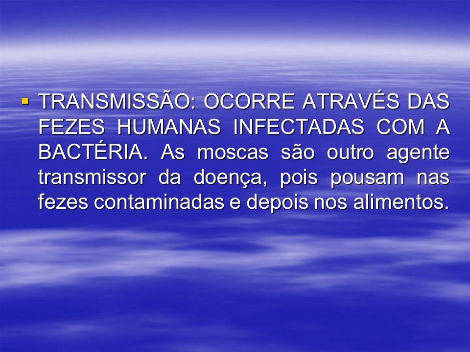 TRANSMISSÃO: OCORRE ATRAVÉS DAS FEZES HUMANAS INFECTADAS COM A BACTÉRIA.