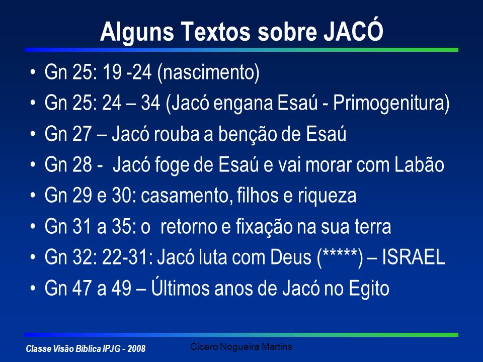 Alguns Textos sobre JACÓ