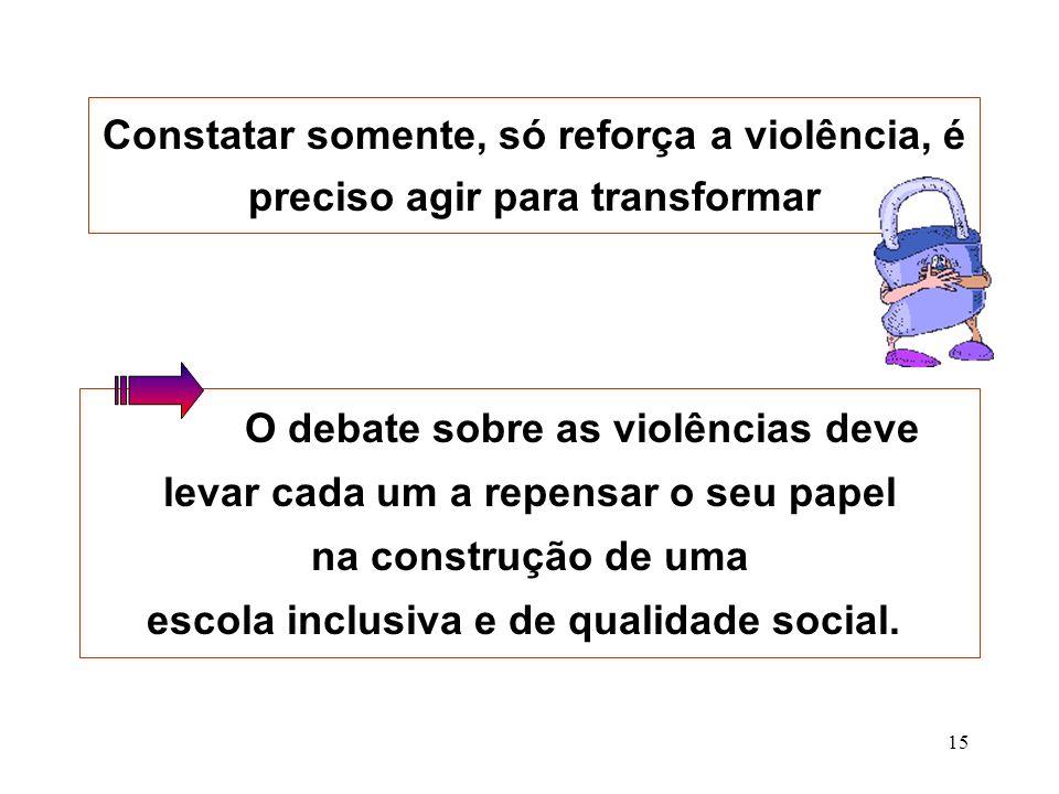 O debate sobre as violências deve levar cada um a repensar o seu papel