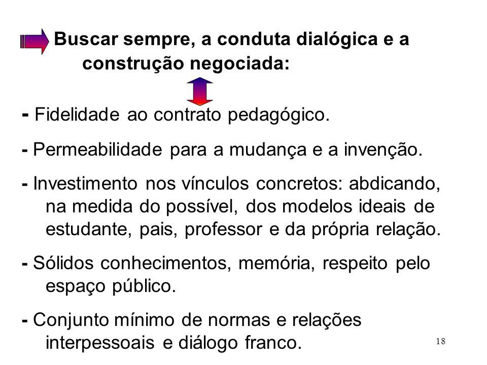Buscar sempre, a conduta dialógica e a construção negociada: