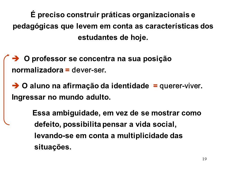 É preciso construir práticas organizacionais e pedagógicas que levem em conta as características dos estudantes de hoje.