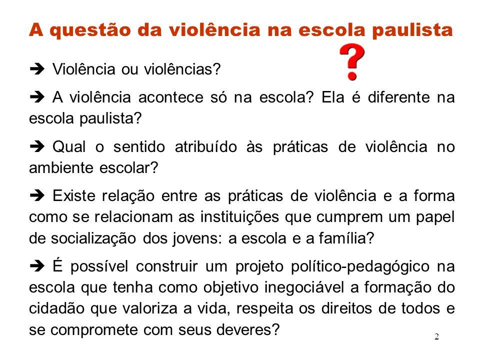 A questão da violência na escola paulista
