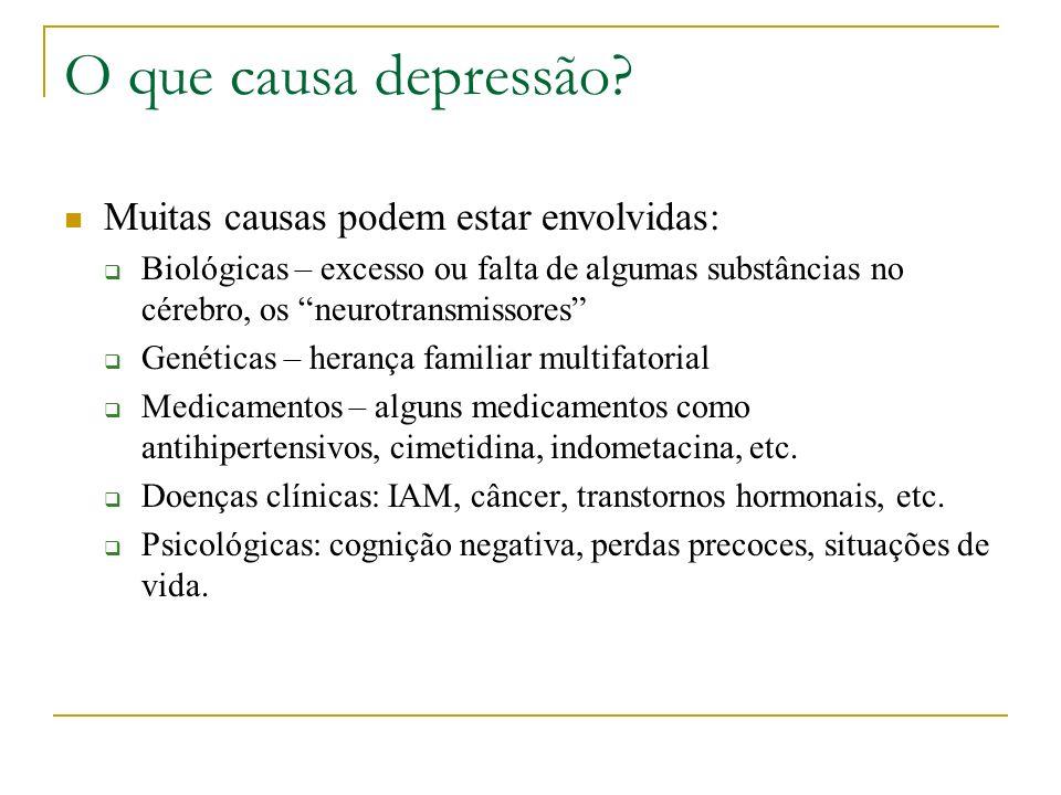 O que causa depressão Muitas causas podem estar envolvidas: