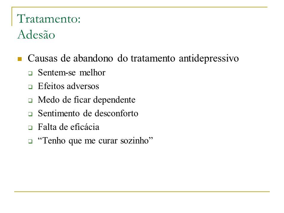 Tratamento: Adesão Causas de abandono do tratamento antidepressivo