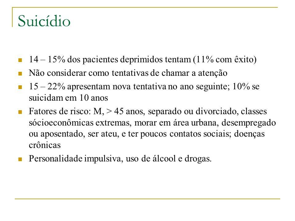 Suicídio 14 – 15% dos pacientes deprimidos tentam (11% com êxito)