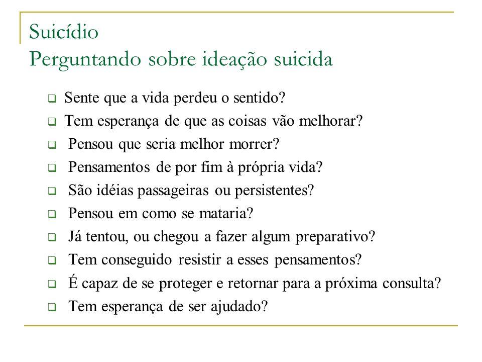 Suicídio Perguntando sobre ideação suicida