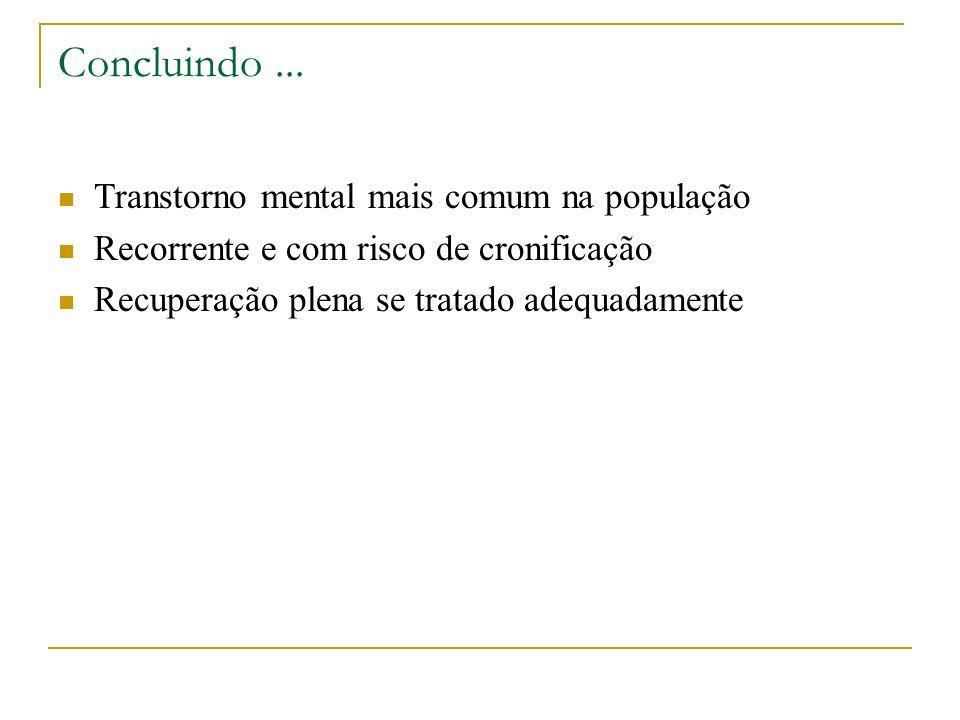 Concluindo ... Transtorno mental mais comum na população
