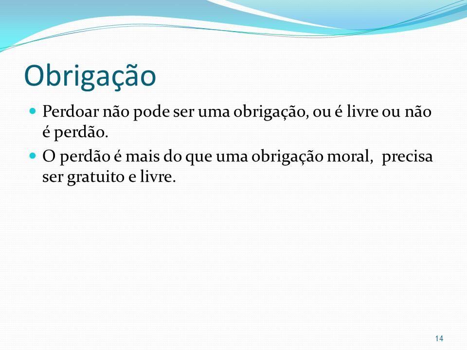 ObrigaçãoPerdoar não pode ser uma obrigação, ou é livre ou não é perdão.
