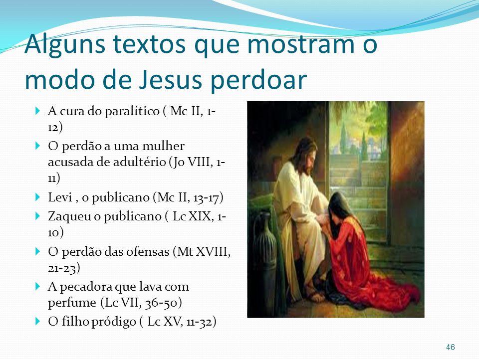 Alguns textos que mostram o modo de Jesus perdoar