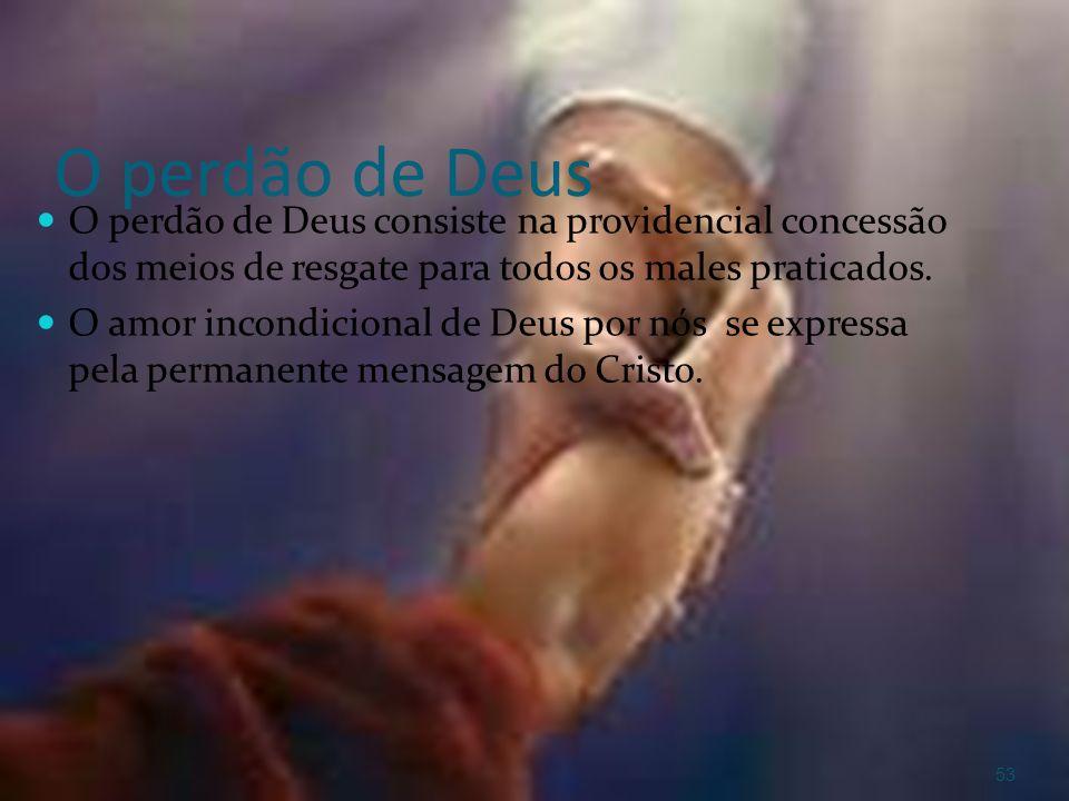 O perdão de DeusO perdão de Deus consiste na providencial concessão dos meios de resgate para todos os males praticados.
