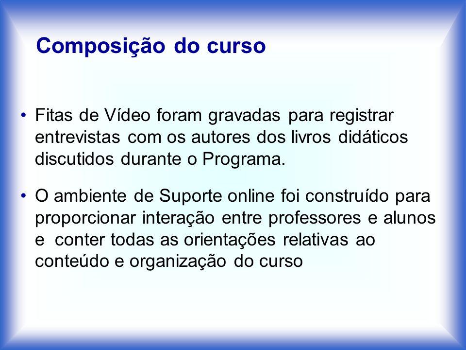Composição do cursoFitas de Vídeo foram gravadas para registrar entrevistas com os autores dos livros didáticos discutidos durante o Programa.
