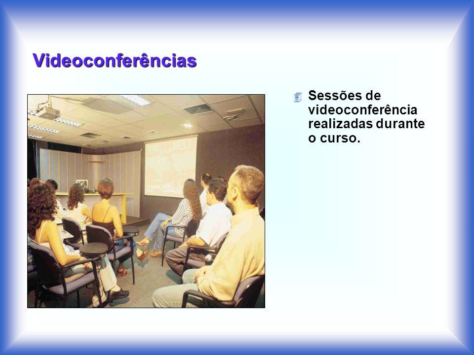 Videoconferências Sessões de videoconferência realizadas durante o curso.