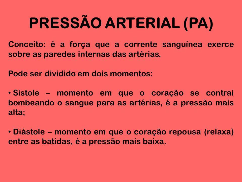 PRESSÃO ARTERIAL (PA) Conceito: é a força que a corrente sanguínea exerce sobre as paredes internas das artérias.