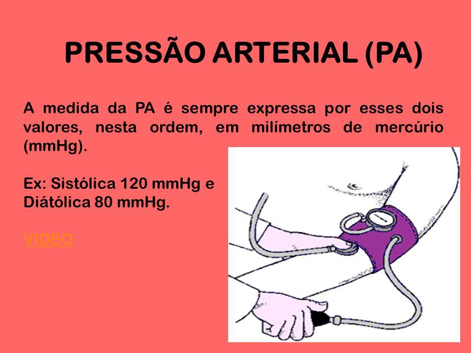 PRESSÃO ARTERIAL (PA) A medida da PA é sempre expressa por esses dois valores, nesta ordem, em milímetros de mercúrio (mmHg).