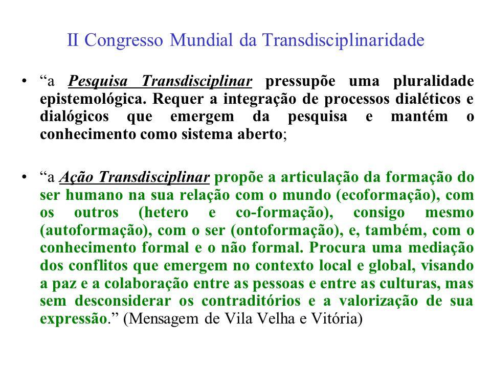 II Congresso Mundial da Transdisciplinaridade