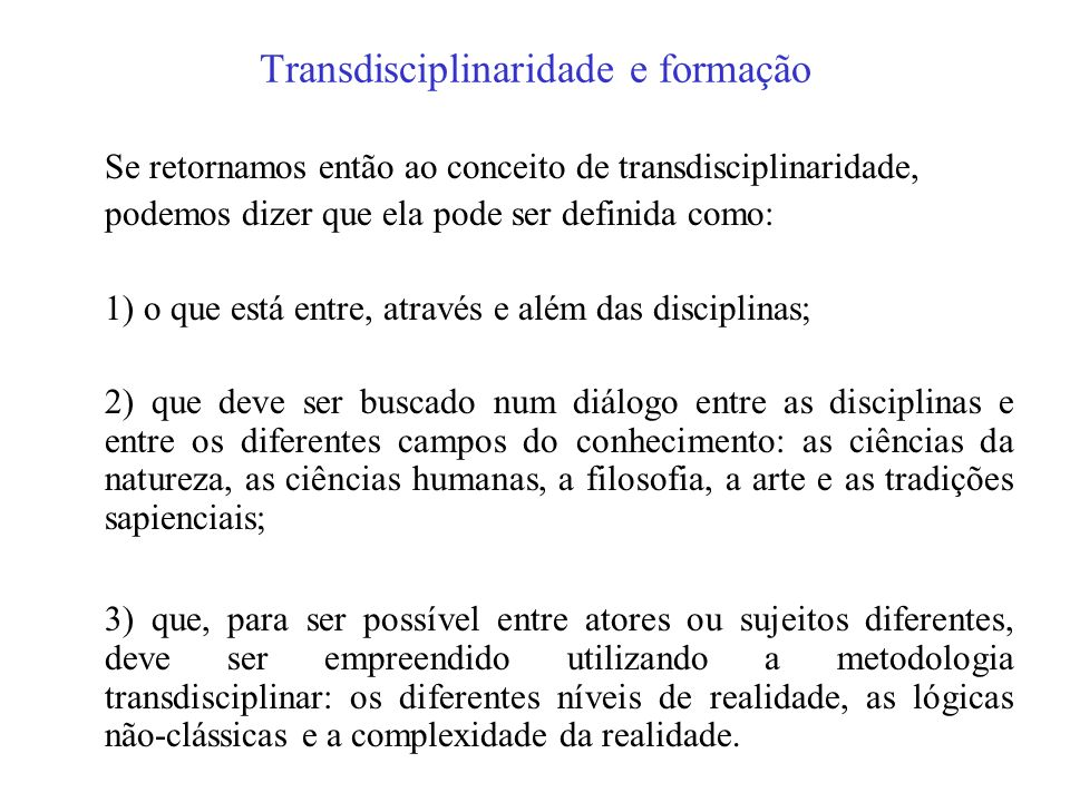 Transdisciplinaridade e formação