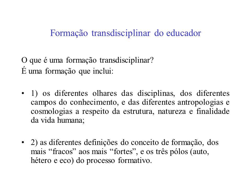 Formação transdisciplinar do educador
