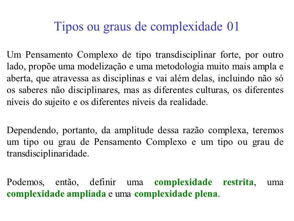Tipos ou graus de complexidade 01
