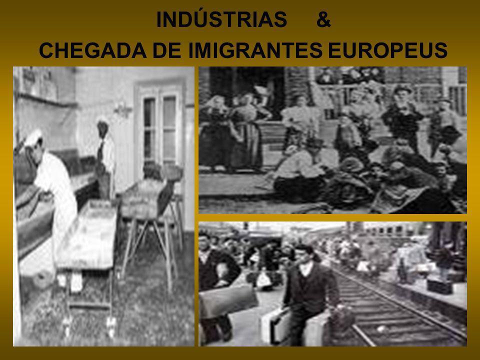 INDÚSTRIAS & CHEGADA DE IMIGRANTES EUROPEUS