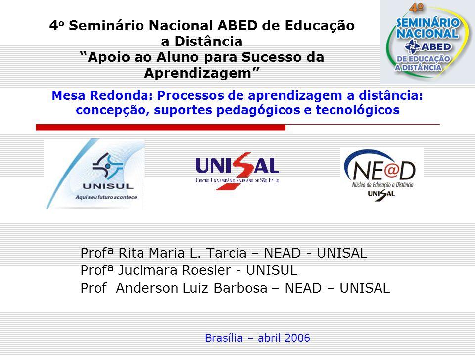 Profª Rita Maria L. Tarcia – NEAD - UNISAL