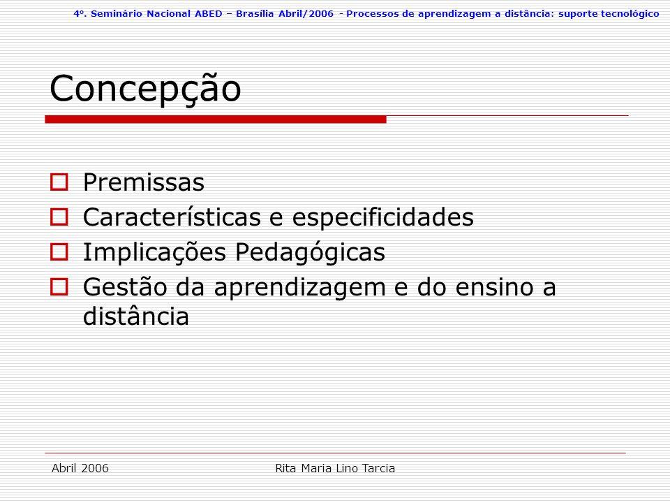 Concepção Premissas Características e especificidades