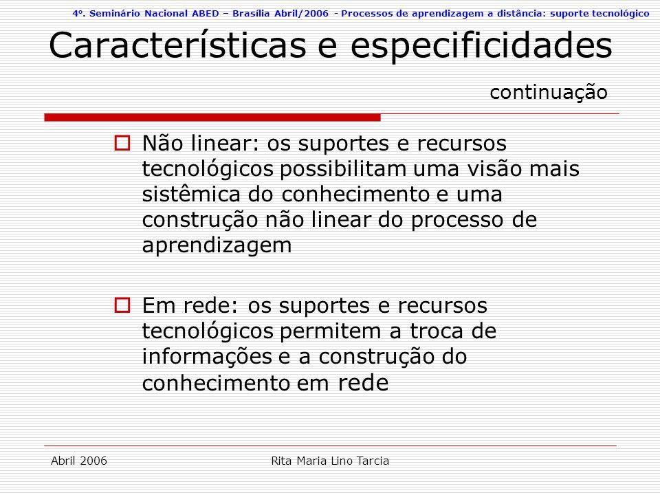 Características e especificidades continuação