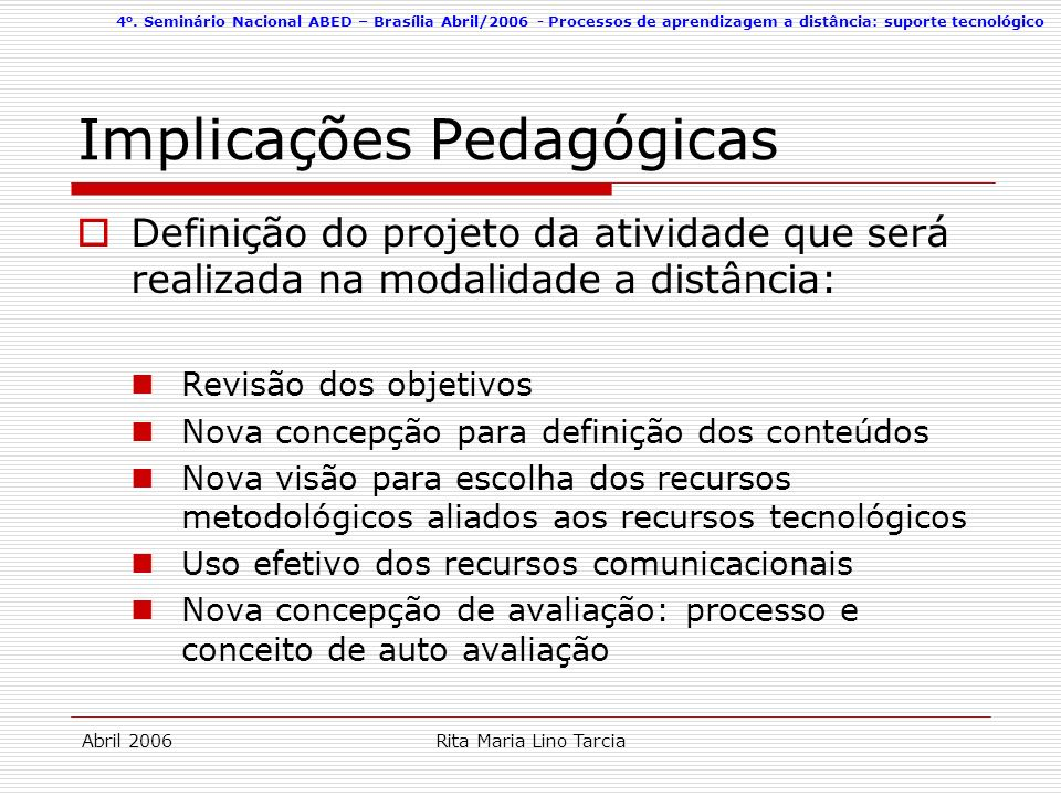 Implicações Pedagógicas