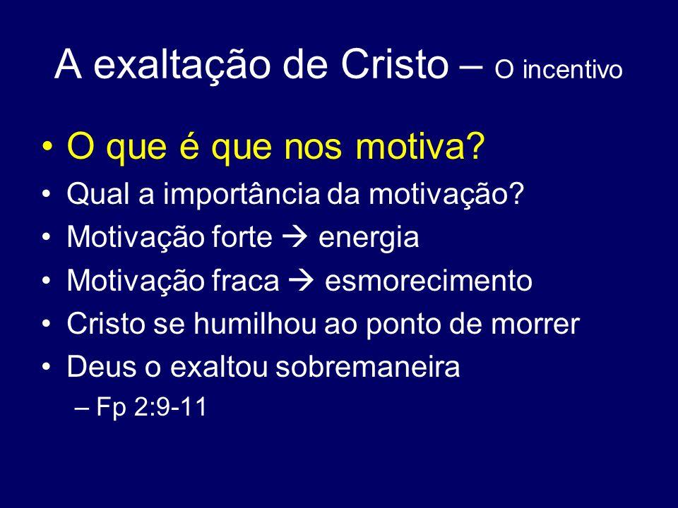 A exaltação de Cristo – O incentivo