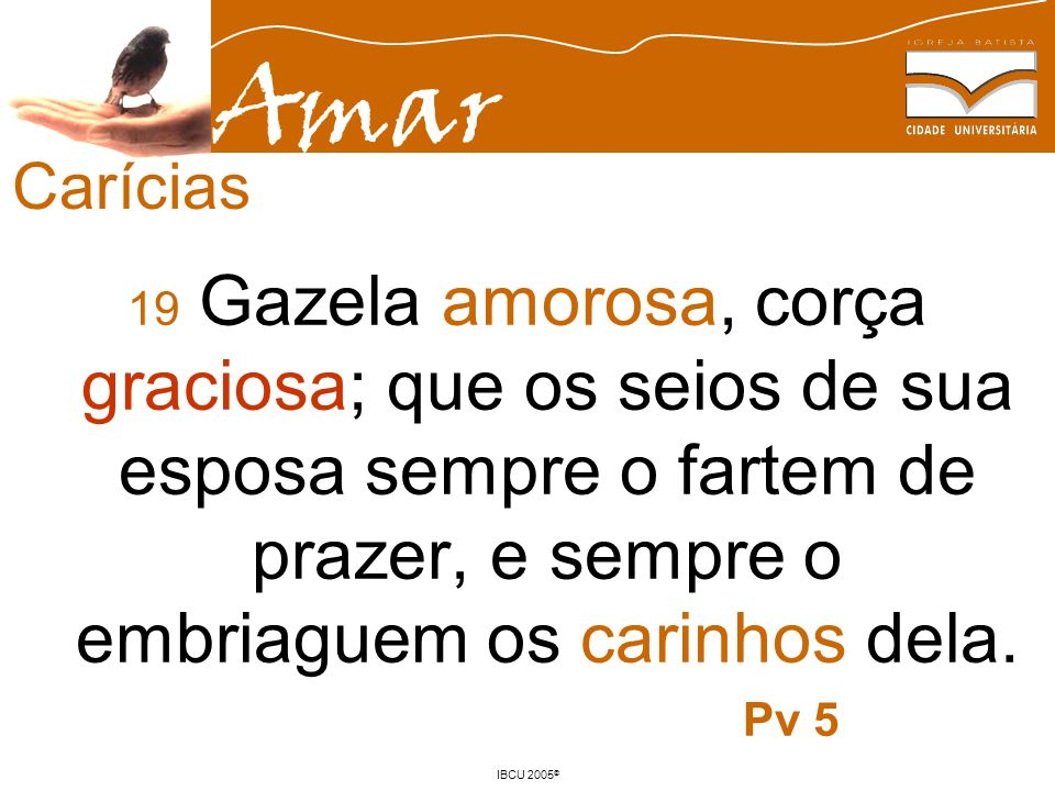 Carícias 19 Gazela amorosa, corça graciosa; que os seios de sua esposa sempre o fartem de prazer, e sempre o embriaguem os carinhos dela.