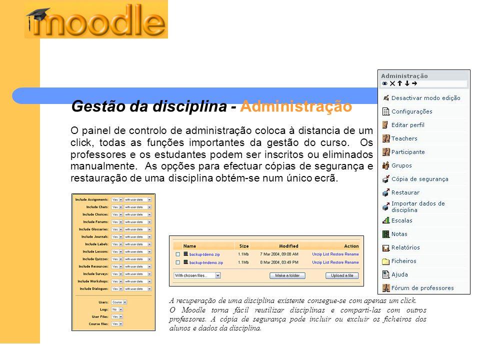 Gestão da disciplina - Administração